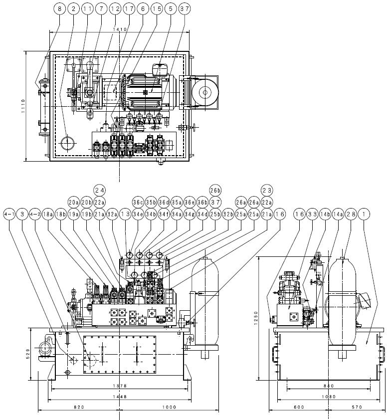 フラッシュバット用油圧ユニット組立図